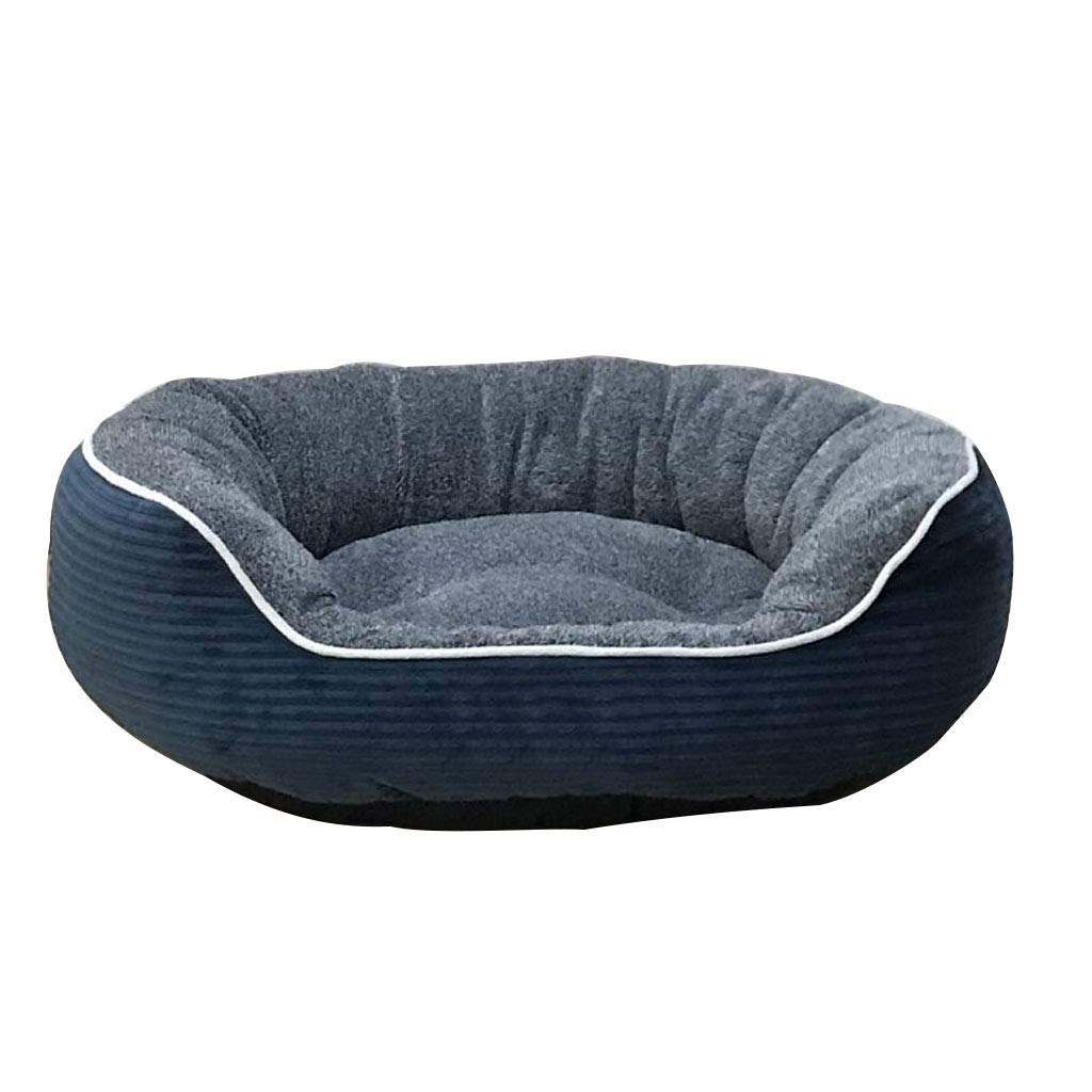 bluee 52CM bluee 52CM Desti Flakes Dog Bed cat mat Kennel Padded Soft Wear-Resistant and Dirty Cat Litter Pet Supplies Four Seasons Universal Washable (color   bluee, Size   52CM)