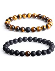 AmorWing Long Distance Onyx Stone Matching Couples Bracelets