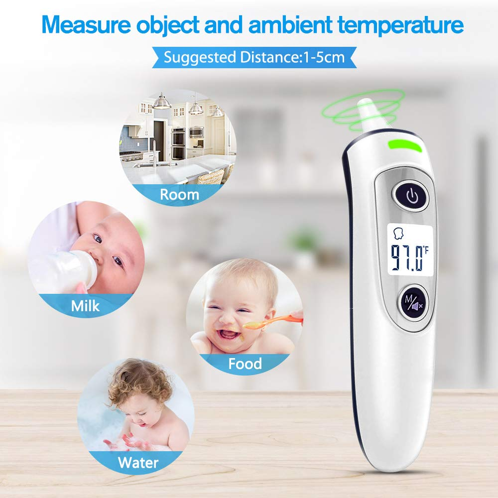 New 2019 Forehead and Ear Thermometer 5-in-1 Digital Medical Thermometer New Algorithm Best Accuracy for Infrared Fever Thermometer for Kids Baby Children and Adults