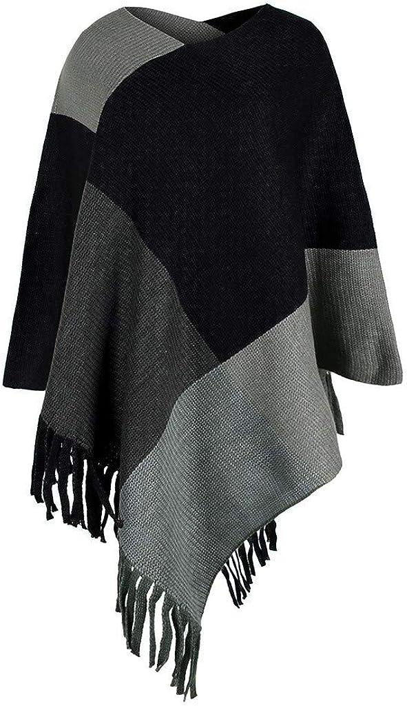 ReooLy Unregelm/ä/ßiger Patchwork-Umhang mit V-Ausschnitt f/ür Frauen Lose Schal-Umhang-Quaste Colorblock Cardigan Sweater Jacket