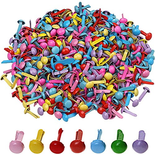 Color Scissor 500 Pieces Mini Brads Round Metal Paper Fasteners Brads for Scrapbooking Crafts DIY, Color (Mini Round Brads)