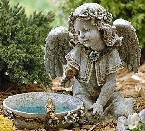 Joseph Studio 62852 Tall Angel Sitting By Solar Bird Bath Statue, 11-Inch Review