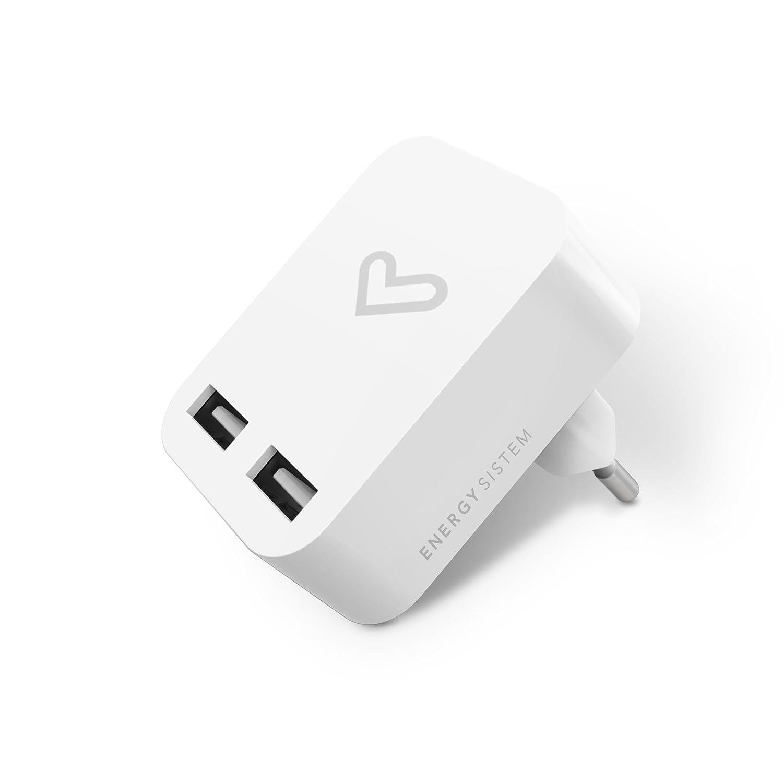Energy Sistem Home Charger- Cargador de 2.4 A Universal (Dual USB, 2400 mA, Compatible con Smartphones y Tablets)