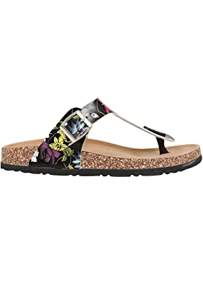 921a8c925e3 Wide Fit Women s Floral Print Toe Post Cork Effect Sandals In Eee Fit Size  9EEE Black