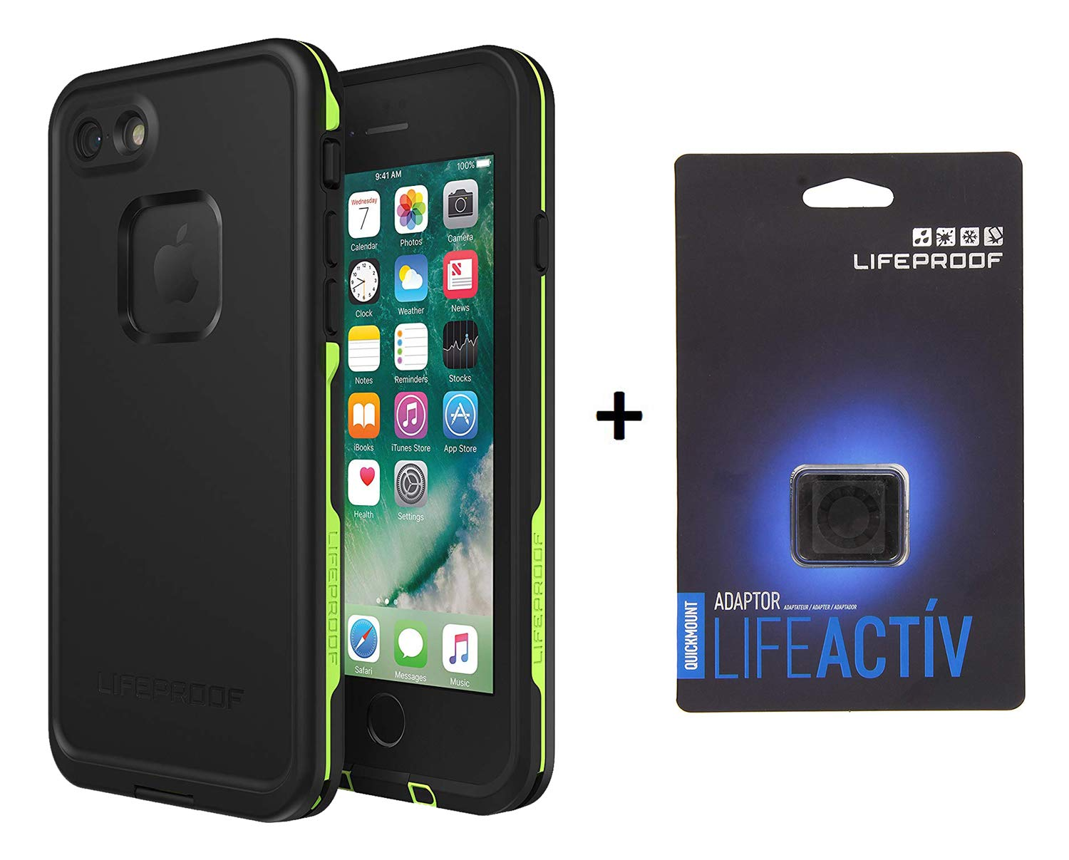 Lifeproof FRĒ Series Waterproof Case for iPhone 8 & 7 (ONLY) - Matching LIFEACTIV UICKMOUNT Adapter (Night LITE)
