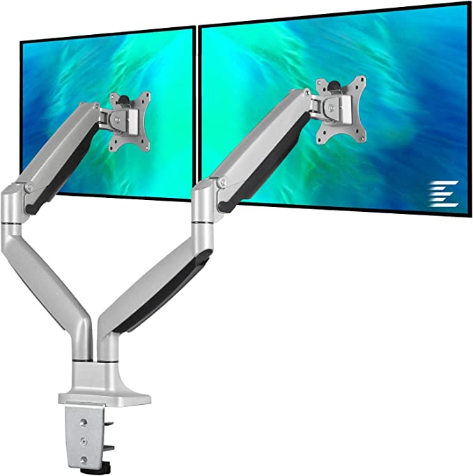Amazon.com : EleTab Dual Monitor Mount Stand Full Motion Swivel Gas Spring LCD Arm Fits for 2 Computer Screens 13 to 32 inches - Each Arm Holds up to 19.8 lbs : Office Products