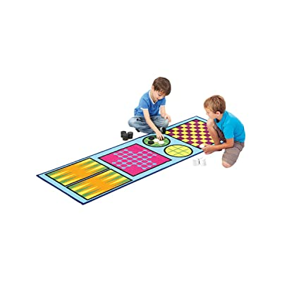 4-in-1 Game Rug – Childrens Play Rug - Rug Games for Kids – Backgammon – Solitaire – Tic Tac Toe – Checkers Rug – Play Rugs for Kids: Kitchen & Dining