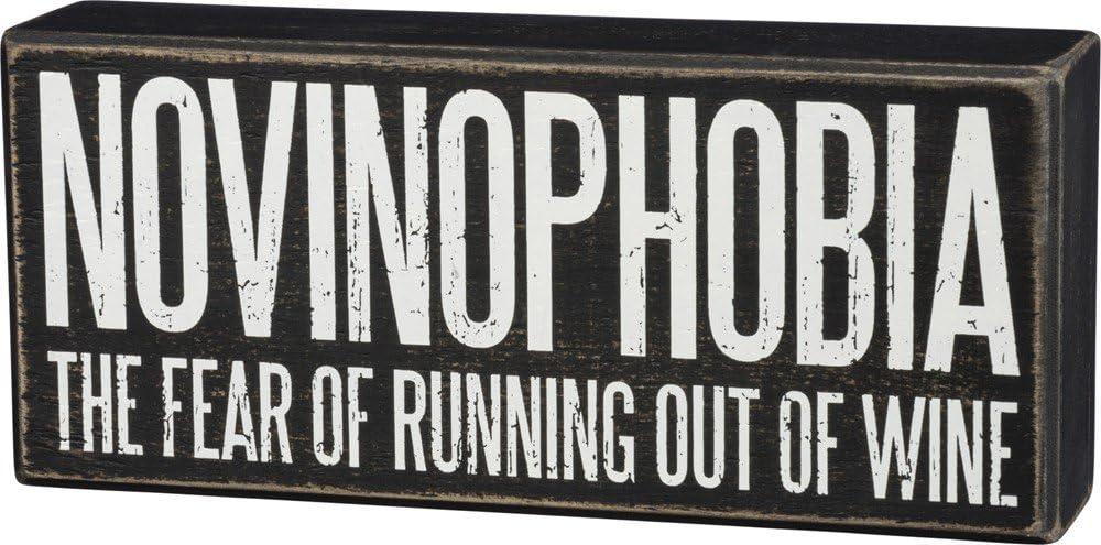 "Primitives by Kathy 33238 Classic Box Sign, 8"" x 3.5"", Novinophobia"
