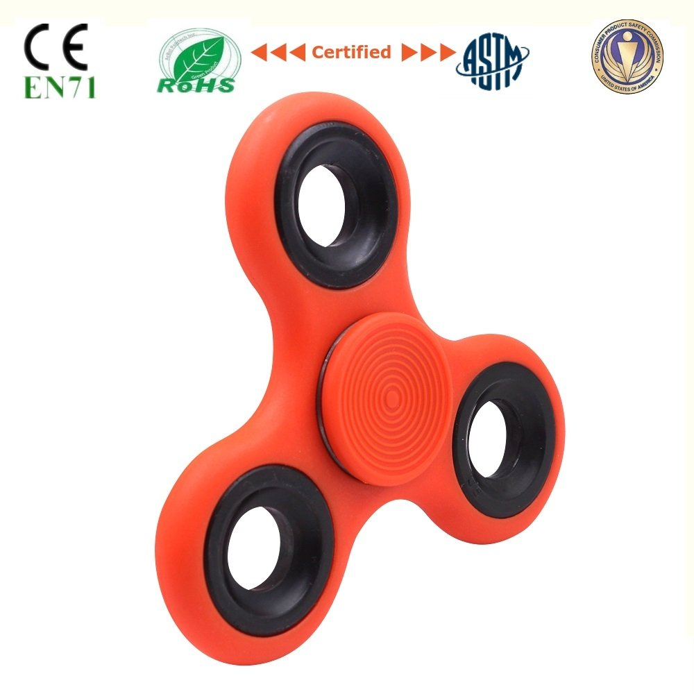 Fidget Spinner Toys With Metal Bearing Anti Anxiety for Adult Children Kids Figit Mini Tri Spinners Helps Focusing Figets Toys EDC Focus Toy Hands Spinner Fidgit Cube Light Pack Set (ABS-Orange)