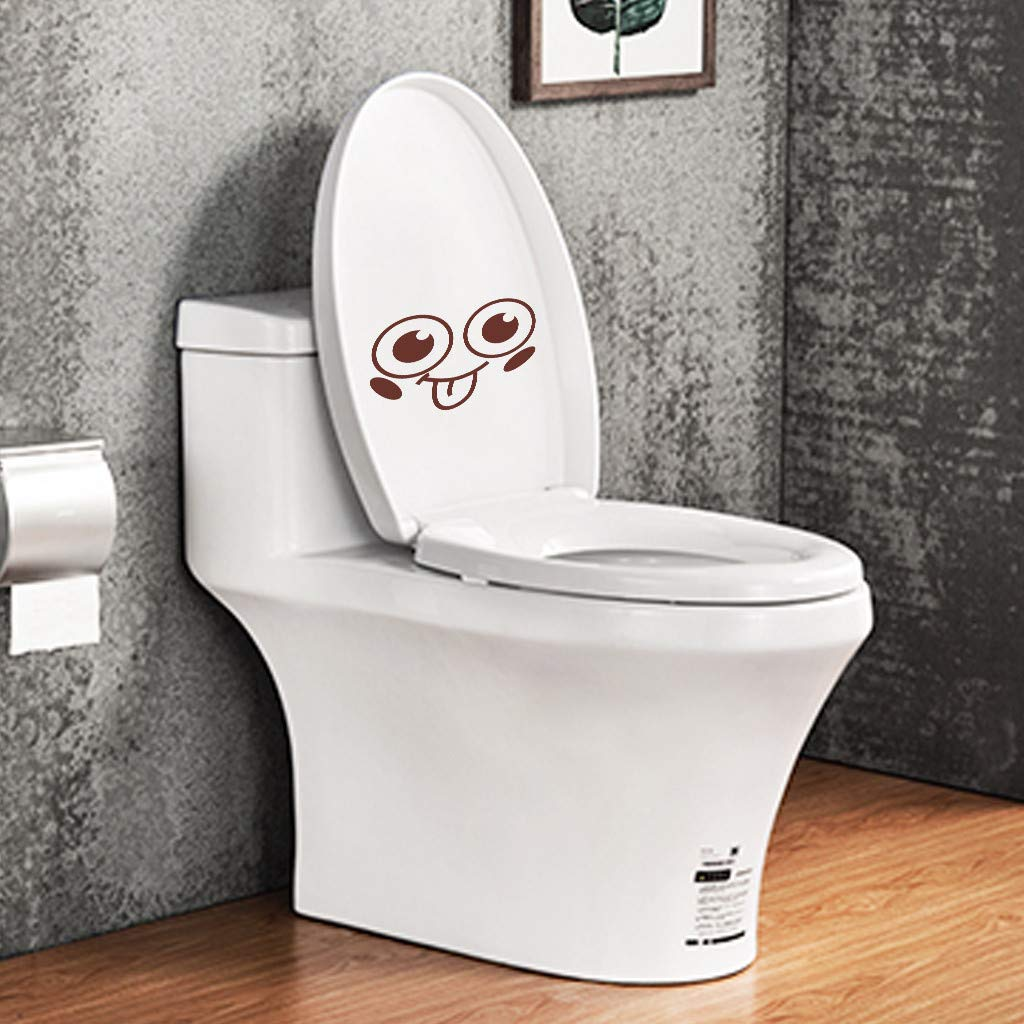 Toilet Stickers Hoshell Lovely Smiling Face Free Decoration Fashion Bedroom Home Toilet Toilet Stickers Black
