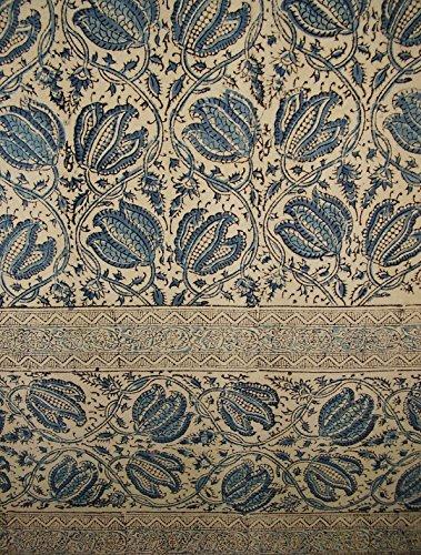 Homestead Veggie Dye Block Print Curtain Drape Panel Cotton 46