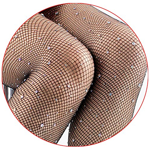 (Women's Sexy Crystal Rhinestone Pantyhose Tights Mesh Fishnet Diamond Stockings Bling)