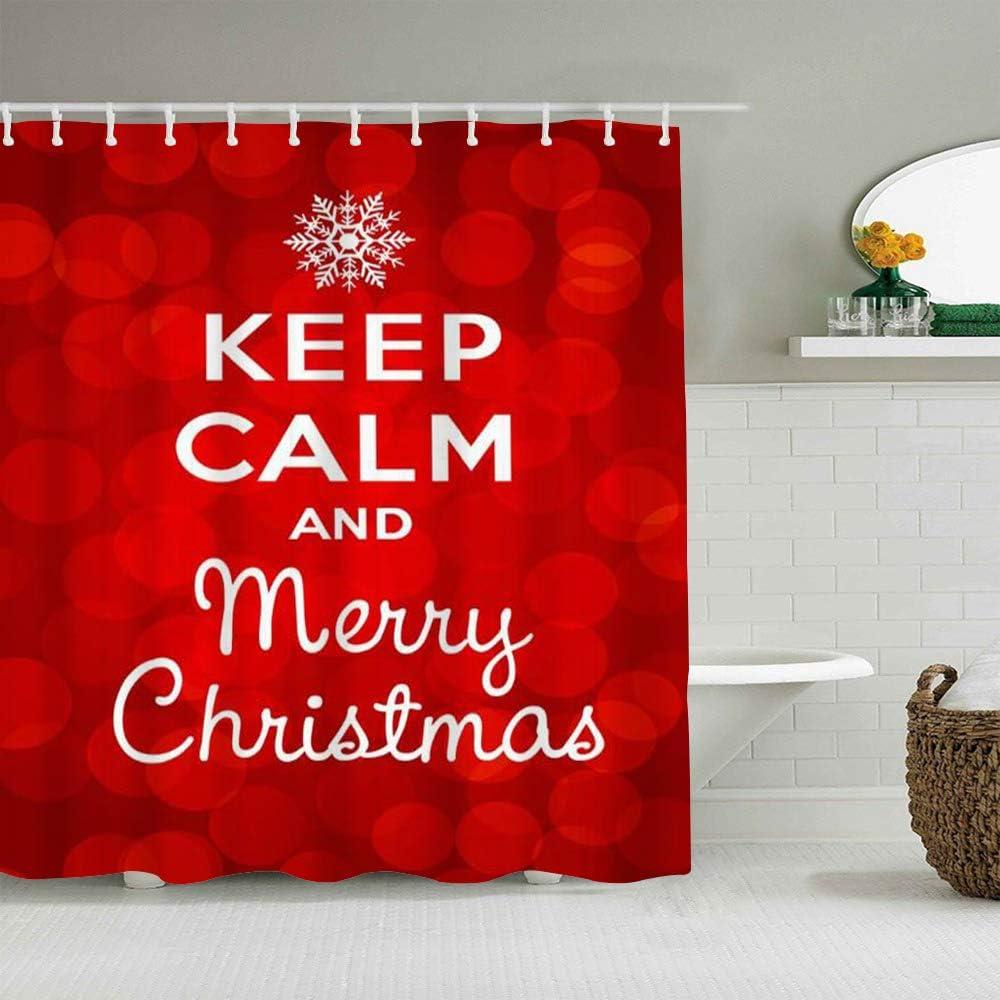 AIKIBELL Cortina de baño Repelente al Agua,Borrosa Reino Unido Happy Keep Calm Gift Feliz Navidad en Varios Gran Bretaña Red Holidays Holiday Xmas,Cortinas de baño con 12 Ganchos,tamaño 180 x 180cm