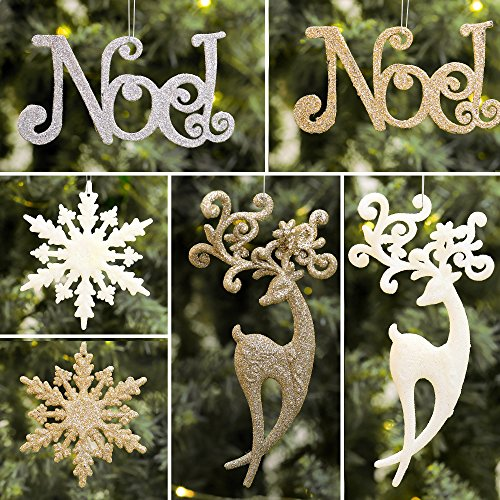 Valery Madelyn 18ct 6-15cm Champagne Gold Sparkling Essential Christmas Ornaments Set Glittery Christmas Decoration-Noel, Snowflake and Reindeer,18 Pcs Metal Hooks Included (Noel Decorations Christmas)