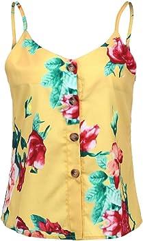 TUDUZ Camisetas Sin Mangas de Verano Camisas Mujer Fiesta Cuello ...