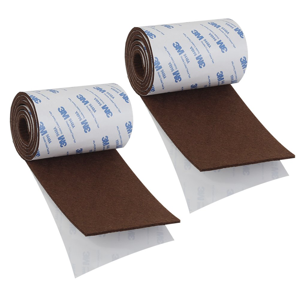 Shintop fieltro cinta DIY adhesivo tira rollo corte en cualquier forma de fieltro resistente para proteger su madera y suelos laminados (marró n) HuaRuiXing