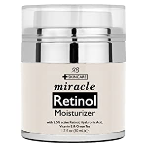 Retinol Moisturizer Cream for Face 1.7 oz with 2.5% retinol, hyaluronic acid and jojoba oil. Best night and day moisturizing cream 1.7 fl. oz