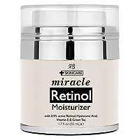Miracle Retinol Moisturiser cream for face - with 2.5 retinol, hyaluronic acid and jojoba oil. Best night and day moisturising cream 50ml