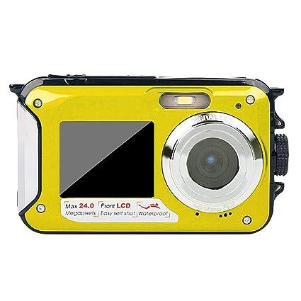 Cámara subacuática de Doble Pantalla HD Cámara fotográfica a Prueba de Agua, grabación de Video