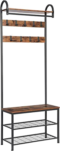 HOOBRO Coat Rack Shoe Bench, Industrial Hall Tree with Storage Shelf, Entryway Storage Organizer, 4 in 1 Design, Accent Furniture with Metal Frame, Easy Assembly, Rustic Brown BF13MT01