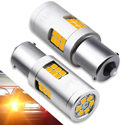 BOODLIED 20Watts No Hyper Flash BA15S LED Bulbs High Power 3030 30SMD Chips 1156 1141 1003 1073 7506 LED Lamps For Reverse Brake Turn Signal Lights,(No Load Resistor Required).Amber/Yellow.: Automotive