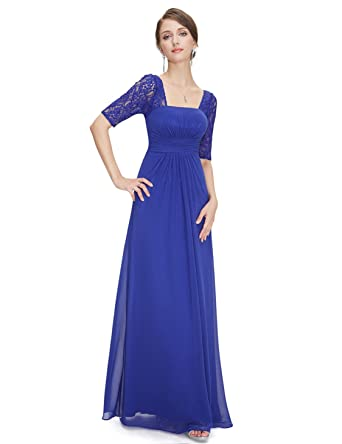 bc3194b58a Ever-Pretty Half Sleeve Square Neckline Ruched Waist Evening Dress 08038 -  -  Amazon.co.uk  Clothing