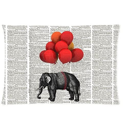 Elephant Carried by Balloons Dictionary Page Pillowcase - Zippered Pillowcase, Pillow Protector Cover Cases - Standard Size 20x30 inches, One-sided Print