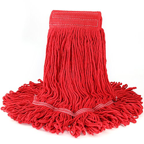 Commerical Grade Winger Mop Head Heavy Duty Loop-End String Mop Refills Super Stitch Blend Large Mop Heads Replacement (Red) - Synthetic Blend Mop