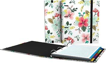 Grafoplás 88101934-Carpeta de anillas troqueladas A4, Diseño Noa, dibujo de flores, con sobre transparente, 4 separadores extra gruesos y 100 hojas de 90g: ...