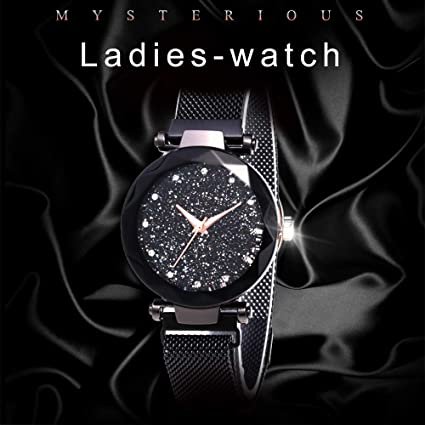 Amazon.com: Starry Sky Rhinestone Analogue Quartz Watches with Magnetic Band Diamond Cutting Sandstone Dial Lady Watch: Clothing