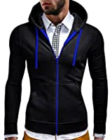 OUCHI Men's Full Zip Hooded Sportwear Contrast Color with Pocket Slim Hoodie