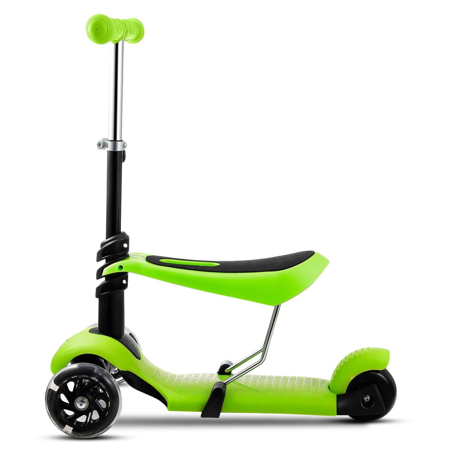 Child Kids 3-Wheel Mini Kick Scooter 3-in-1 Toddler Scooters with LED Wheels Adjustable Handle T-Bar & Seat (US Stock)