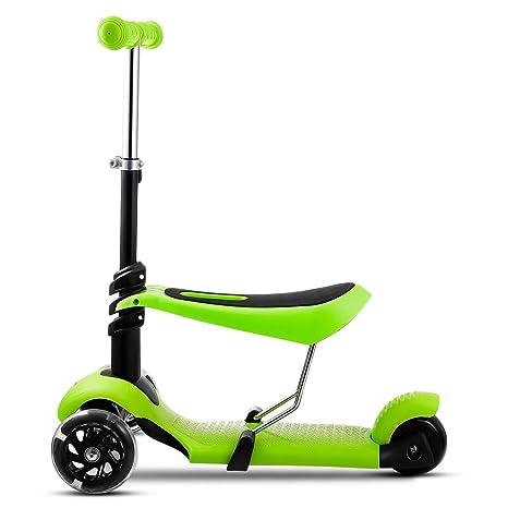 mymotto 2 en 1 Scooter Patinete para Niños con asiento de 3 ruedas Manillar Ajustable Altura Ajustable (Verde)