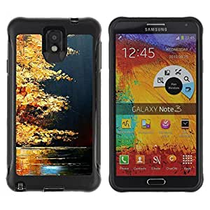 KROKK CASE Samsung Note 3 - autumn fall lake nature golden brown - Rugged Armor Slim Protection Case Cover Shell