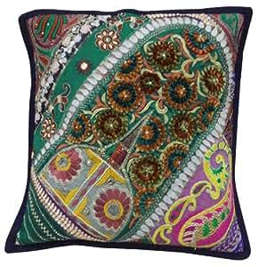 """Decorativo Verde Funda de almohada Patchwork étnico Cojín bordado Square Indian Art 16 """" pulgadas"""