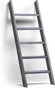 BOUDAC Rustic Wood Blanket Ladder, Wall Leaning Towel Ladder Rack (4.5', Grey)