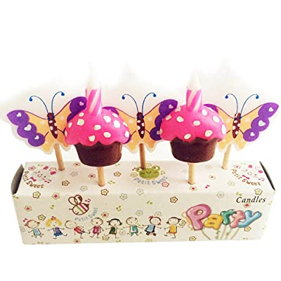 ornerx Butterfly and Cake Themed Birthday Cake Candles: Home & Kitchen
