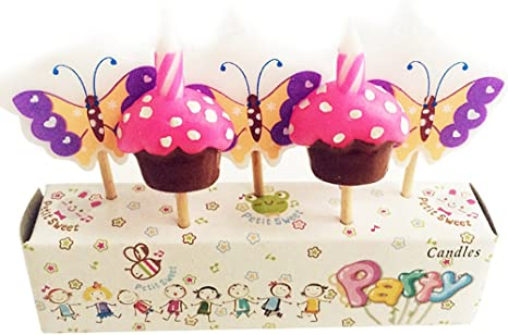 Super Ornerx Butterfly And Cake Themed Birthday Cake Candles Amazon Ca Funny Birthday Cards Online Overcheapnameinfo
