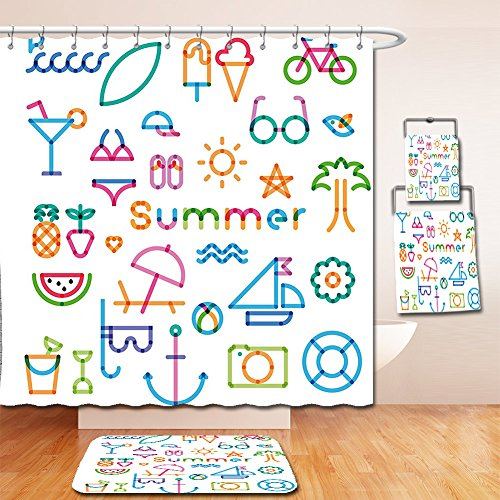7006 Thermal (Nalahome Bath Suit: Showercurtain Bathrug Bathtowel Handtowel Modern Decor Graphic Design with Computer Digital Like Marks Glasses Summer Vibes Artwork Print White)