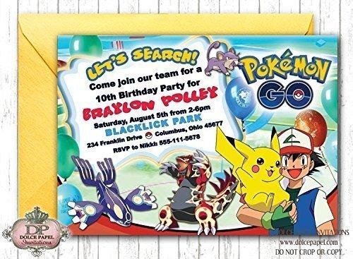 10 POKEMON GO Birthday Invitations Pikachu And Ash Pokemon Go Party