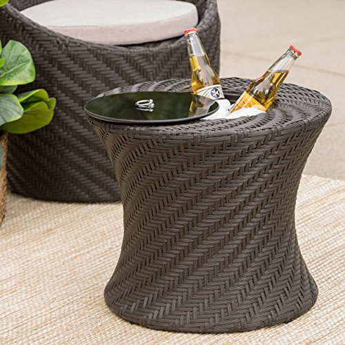 Belen Outdoor Brown Wicker Accent Table with Ice Bucket For Sale