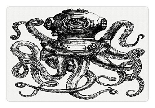 Ambesonne Octopus Pet Mat for Food and Water, Vintage Style Diver Helmet with Marine Animal Tentacles Scuba Concept, Rectangle Non-Slip Rubber Mat for Dogs and Cats, Charcoal Grey and White