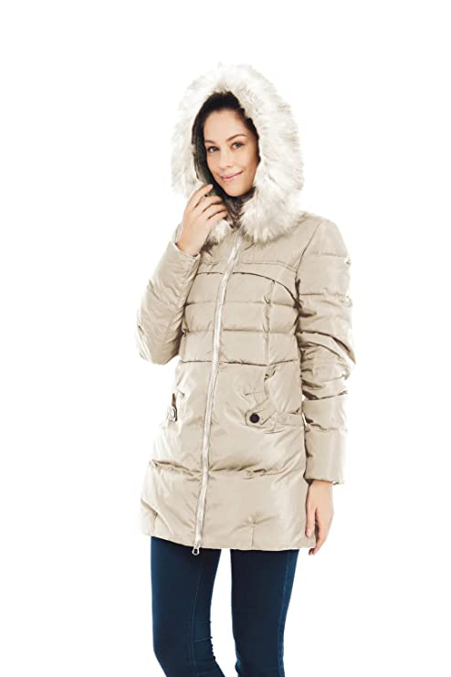 Valuker Women's Down Coat With Fur Hood With 90% Down Parka Puffer ...