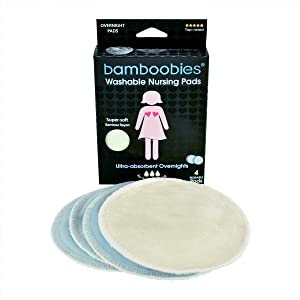 Bamboobies Nursing Pads for Breastfeeding | 2 Overnight Pairs | Reusable & Washable Breast Pads | Ultra-Absorbent Overnight Nursing Pads | Super Soft Rayon Made From Bamboo | Milk Proof Liner
