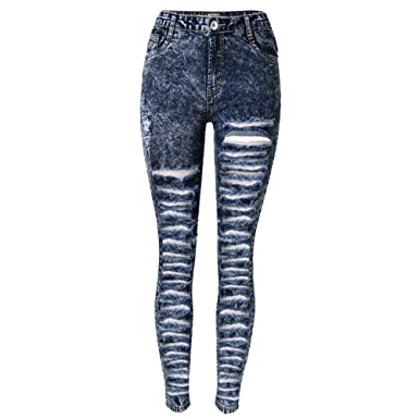 ce4851b3166c Laixing Qualität Sexy Women Jeans Skinny Ripped Hole Long Denim Pants  Pencil Leggings TOP-008D
