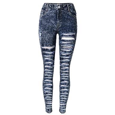 c96a32c6a7e5 Laixing Qualität Sexy Women Jeans Skinny Ripped Hole Long Denim Pants  Pencil Leggings TOP-008D