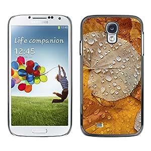 FECELL CITY // Duro Aluminio Pegatina PC Caso decorativo Funda Carcasa de Protección para Samsung Galaxy S4 I9500 // Gold Yellow Rain Drop Spring