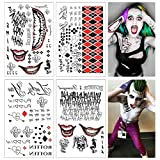 COKOHAPPY SS Temporary Tattoo Full set of 4 Sheets - 80+ Tats Costume/Cosplay Harley Quinn & The Joker