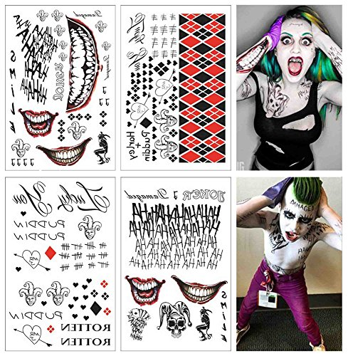 COKOHAPPY 4 Large Sheets SS Temporary Tattoo HQ & The Joker Sticker 80+ Tats Costume/Cosplay Party Accessories -