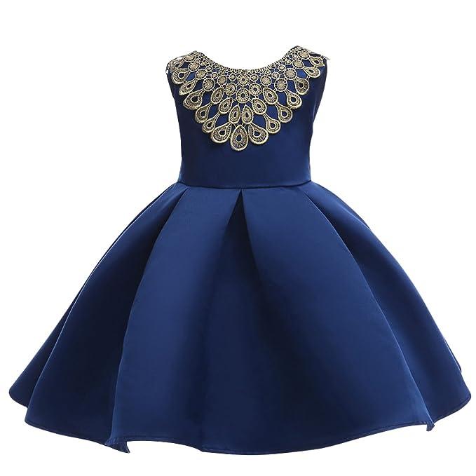 Bebone Vestido Nina para Boda Fiesta(azul,3-4)